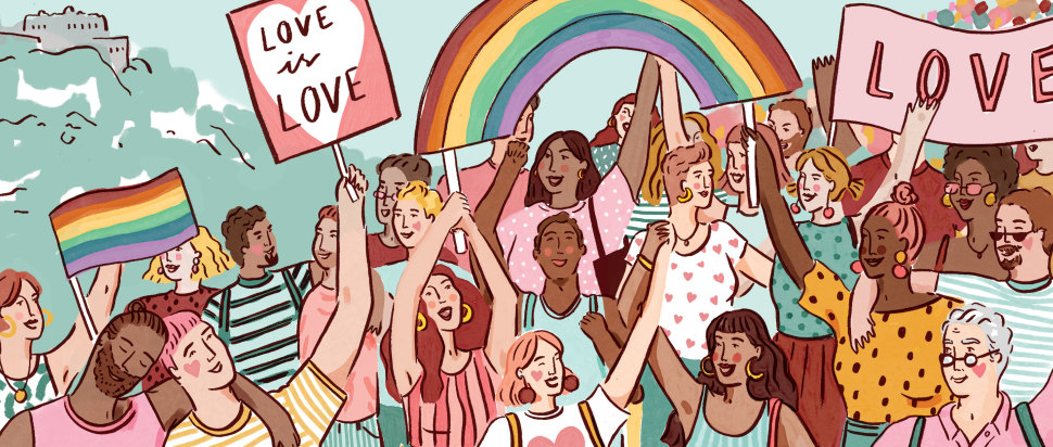 iilustration of LGBTQ+ community marching